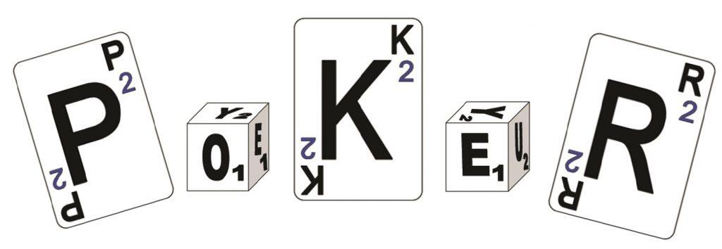 Obrázek karet a kostek do Slovního Pokeru