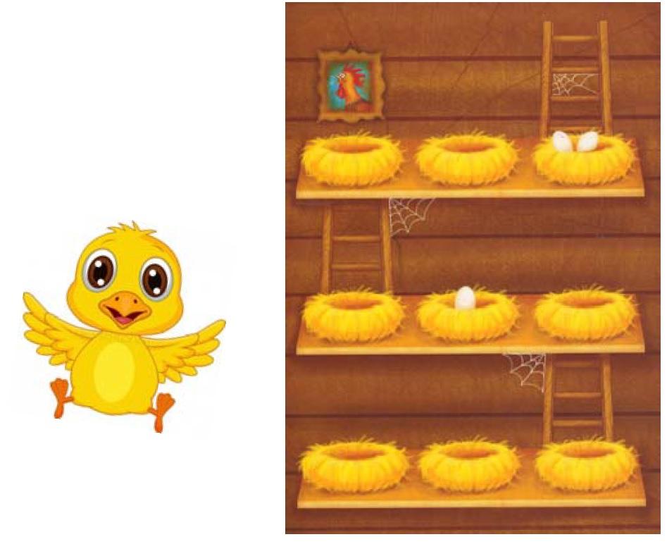 Obrázek kuřete a hrací desky.